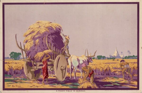 Poster for the Empire Marketing Board, depicting a paddy field in Burma