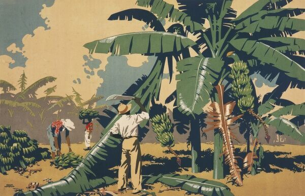 Poster for the Empire Marketing Board, depicting people cutting bananas in Jamaica