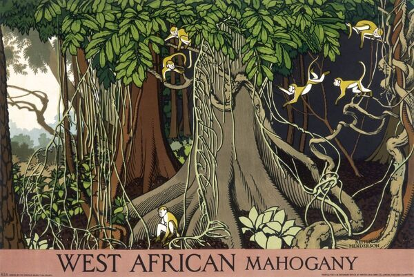 Poster for the Empire Marketing Board, depicting West African mahogany in a forest, with small monkeys swinging on long creepers