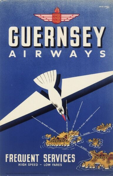 Poster, Guernsey Airways, offering frequent services to and from the Channel Islands, with a map showing places and flight durations. circa 1936