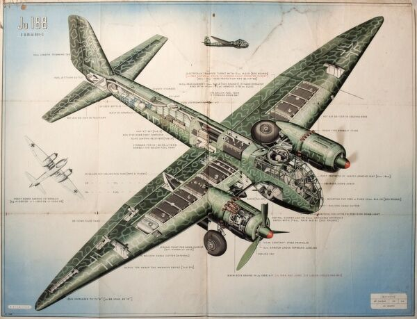 Poster of a JU 188 Junkers Bomber, built for the German Luftwaffe during the Second World War.  1940s
