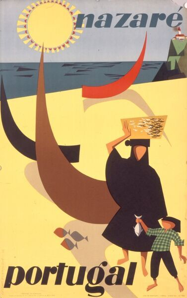 Poster advertising the seaside town of Nazare in Portugal featuring a blazing sun, yellow sand, a Portuguese lady dressed all in black with a basket on her head, and a boy with a fish