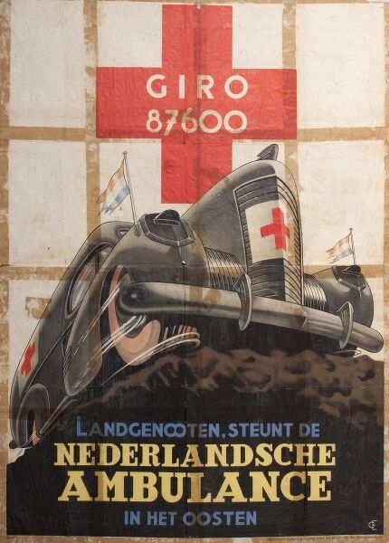 Poster depicting a Red Cross ambulance. Published by the German Reich, but written in Dutch, it encourages the countrymen of Holland to support the Dutch ambulance service in the east.  1940s