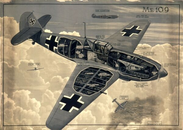 English poster showing details of the ME109 German Messerschmitt fighter plane, used during the Second World War