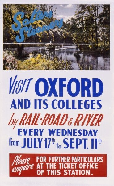 Poster advertising visits to Oxford and its colleges by rail, road and river