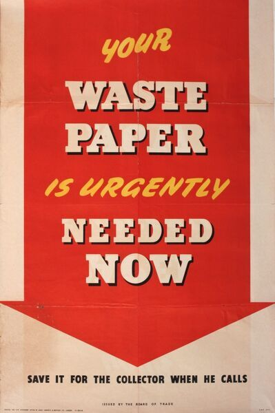 Wartime salvage poster, Your Waste Paper is Urgently Needed Now, save it for the collector when he calls.  1940s