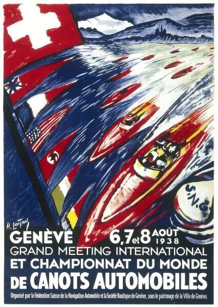Poster for the world motor boat championships in Geneva from the 6th-8th August 1938