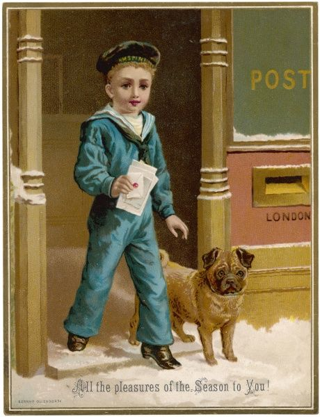 Little boy taking his christmas cards to the post box