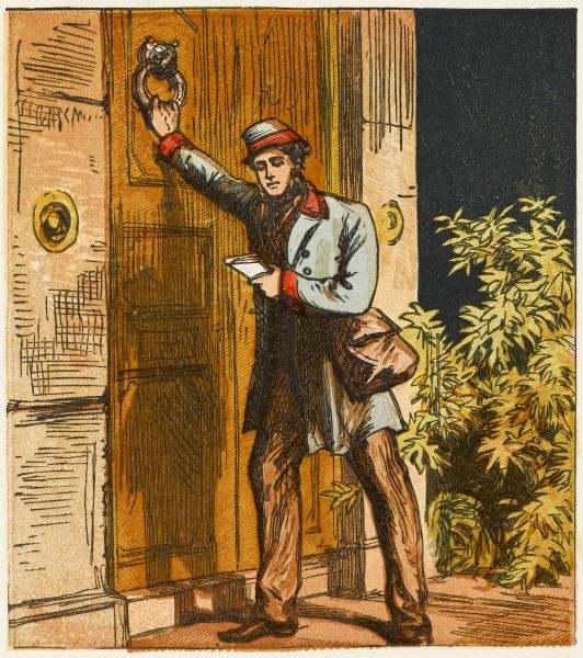 A Victorian postman delivering a letter