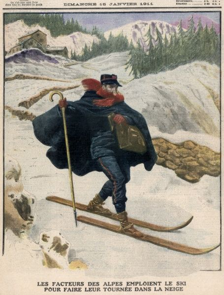 In the French Alps, the postman delivers his mail on ski