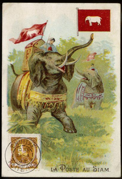 The Thai postman uses an elephant, carrying a flag with the sacred white elephant symbol as a sign of authority