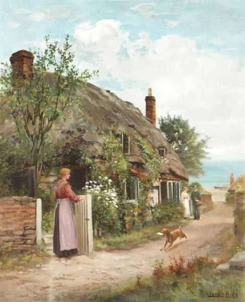 Painting by John Henry Yeend King (1855-1924) showing a postman paying his daily visit to an idyllic thatched cottage close to the sea