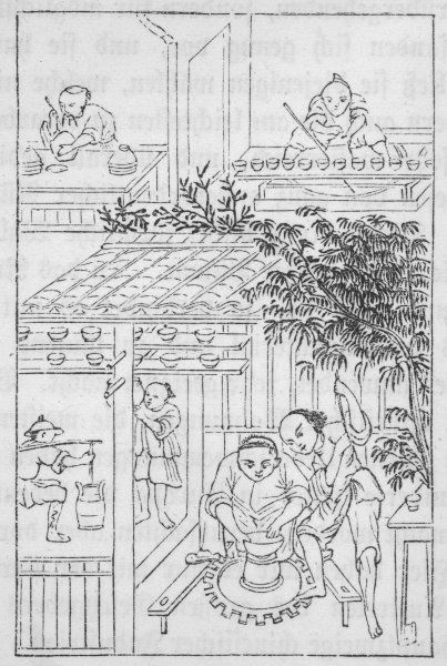 Pottery production in ancient China - turning the pots on a wheel & glazing (3 of 4)
