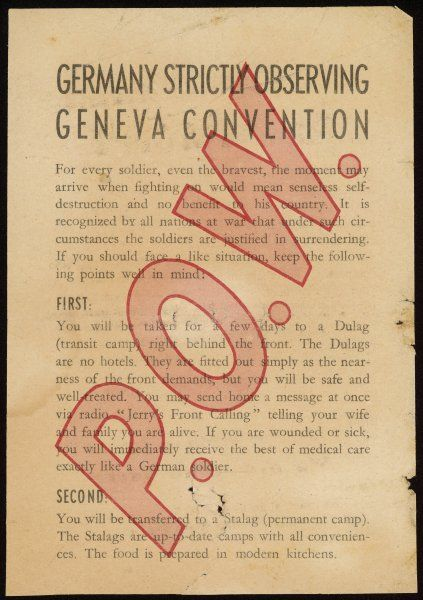 Leaflet given to captured troops by the Germans, telling them what is in store for them but assuring them that 'You will return home safe and sound after the war&#39