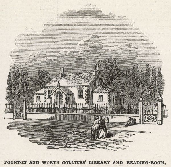 Poynton and Worth colliers' library and reading room. Established on the estate of Lord Vernon in Poynton, the library operated on a subsidised subscription basis, offering education to all the estate workers