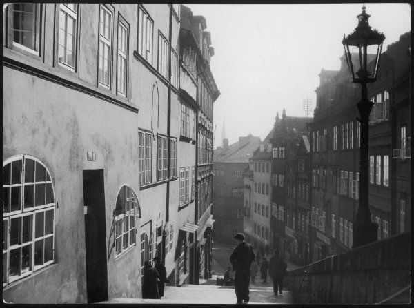 A tranquil scene among the steep narrow streets of Prague, Czechoslovakia (now Czech Republic) a few years before the outbreak of World War Two