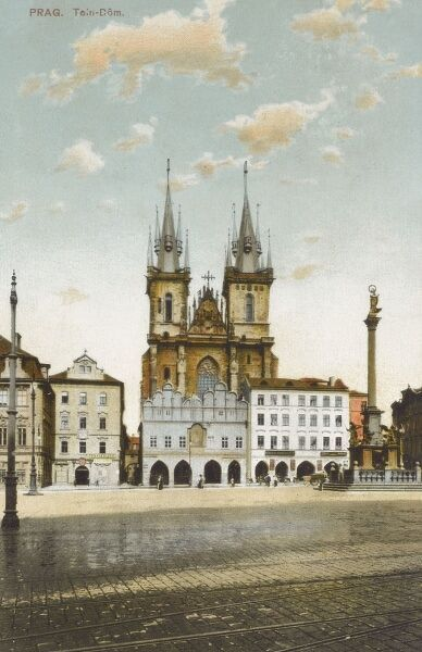 Czech Republic - Prague - The Church of Our Lady before Tyn and the Old Town Square. Date: 1912