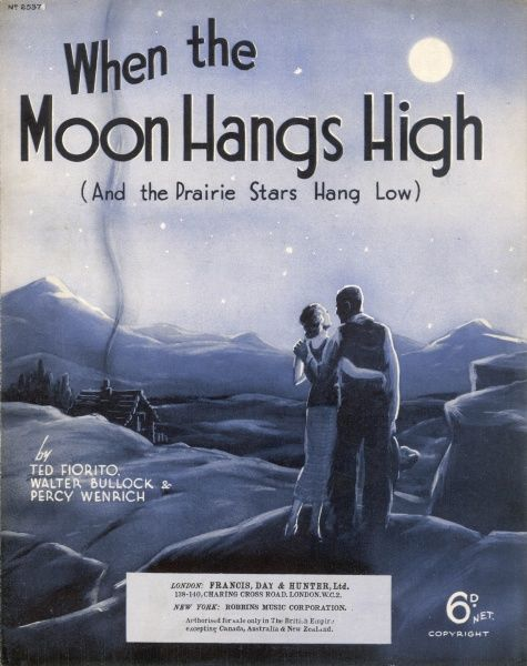 "A young couple gaze lovingly at each other as they stand on a vantage point from where they can see their log cabin. Illustration for the song: ""When the Moon Hangs High...&quot"