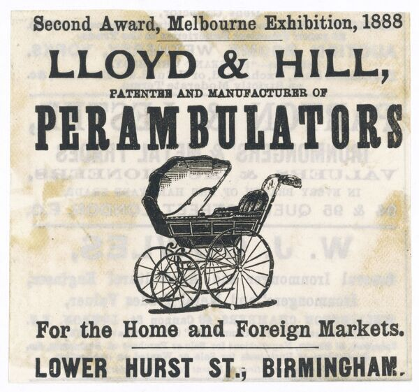 A typical late Victorian perambulator, made by Lloyd & Hill, Birmingham