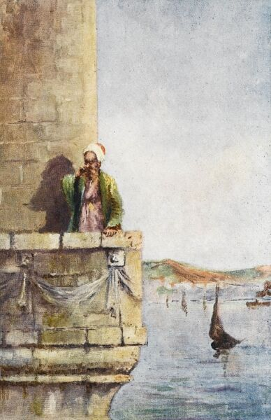 The Hodja upon the minaret calling the believers to prayer at Constantinople, Turkey