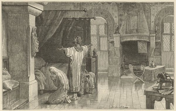 A medieval knight and his lady say their morning prayers, in the bedchamber of their chateau