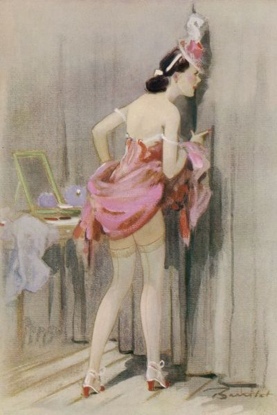 A show girl, with skirts hoisted to reveal stocking tops, peeping through a stage curtain