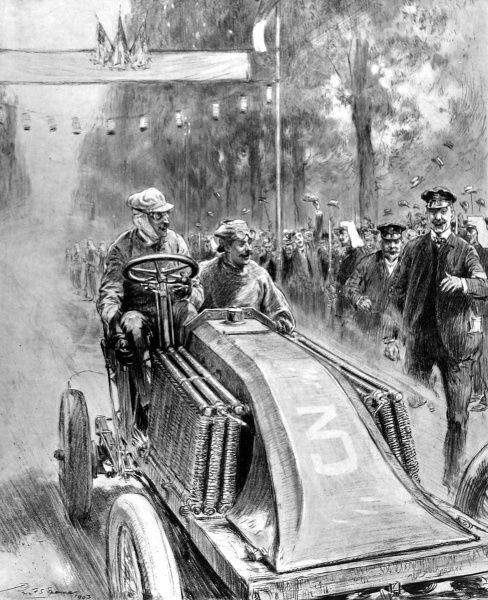 An illustration of the premature end of the Paris-Madrid automobile race, showing the arrival at Bordeaux of the first car driven by M