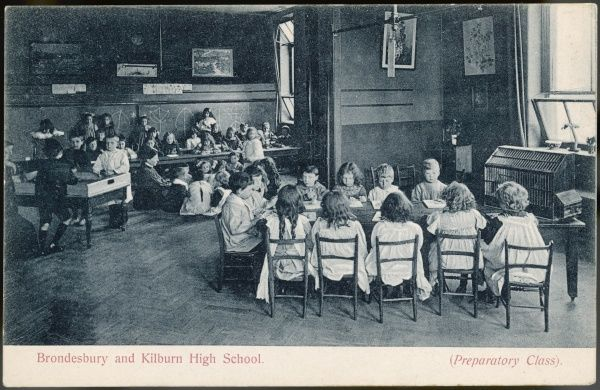 Girls and boys of the Preparatory Class at Brondesbury and Kilburn High School in north west London