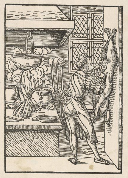 A cook disembowels a hare in preparing it for cooking