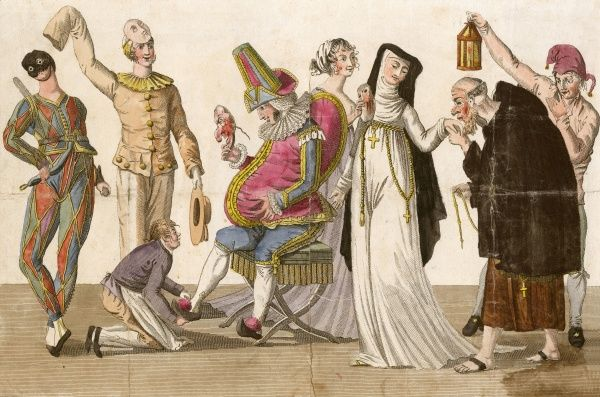 Preparing for a Masquerade: people in traditional costumes including Harlequin, Mr Punch, Pierrot, a nun and a monk Date: circa 1825