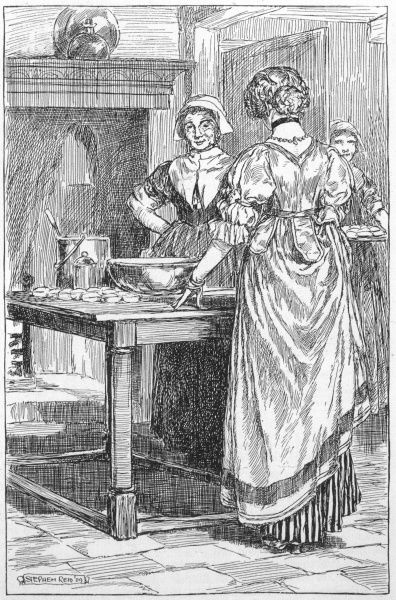 A lady checks on her maids as they prepare mince pies for the Christmas dinner