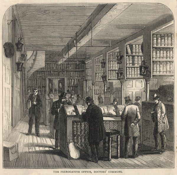 The Prerogative Office, Doctors' Commons. This was the office in which wills proved in the Prerogative Court were registered