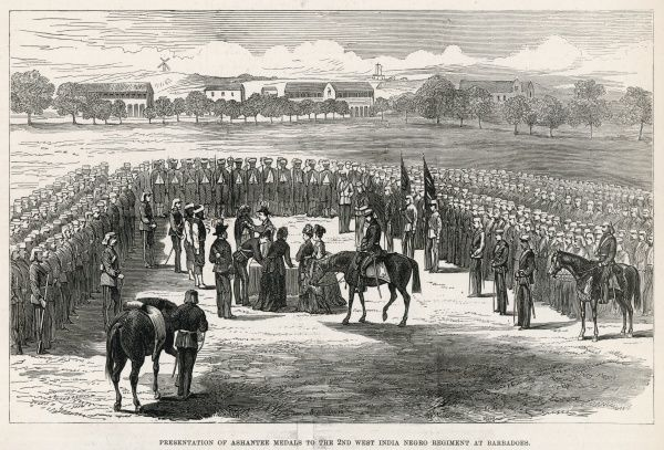 Presentation of medals for service during the Ashanti War to the 2nd battalion of the West India Regiment at Barbados