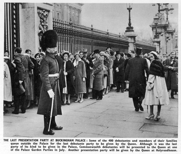 Debutantes and their familes queue outside Buckingham Palace for the last court presentations to the Queen in March 1958