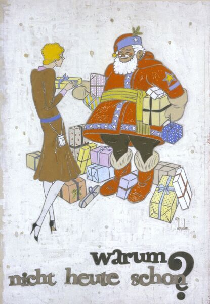 An elegant lady discusses Chrstmas shopping with Santa Claus. From an advertisement