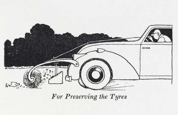 An automatic dust pan and brush attached to the front of a car for the preservation of expensive tyres. Please note: Credit must appear as (c) Courtesy of the estate of Mrs J.C.Robinson/Pollinger Ltd/Mary Evans Picture Library