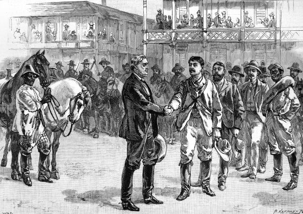 Image showing the President of the Confederate States, Jefferson Davis, and bidding farewell to his escort at the end of the American Civil War, 1865. Davis was captured by Unionist troops two days later