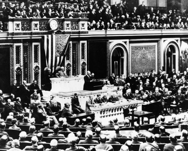 President Thomas Woodrow Wilson (1856-1924) addressing the American Congress to recommend entering the war on the side of the Allies. Four days later the USA declared war on Germany. Date: 2 April 1917