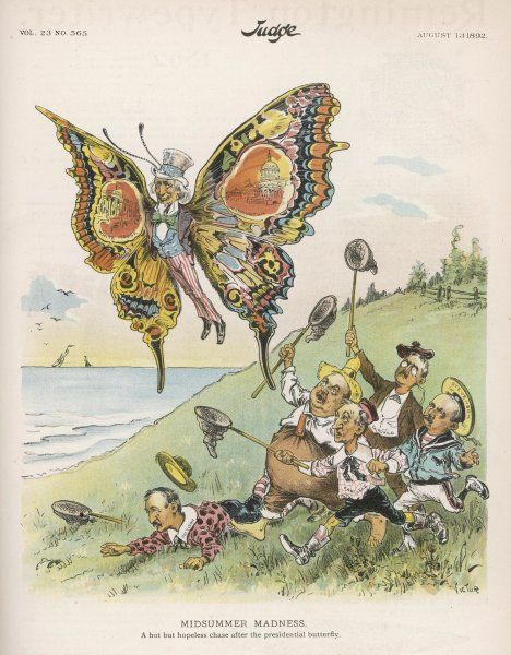 Candidates in the United States chasing the presidential butterfly in the form of Uncle Sam