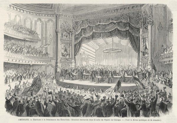 An election meeting in Chicago Opera House, the outcome of which was the election of General Grant