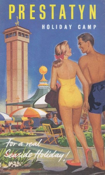 Cover illustration for Prestatyn Holiday Camp, for a real seaside holiday, showing a couple in swimwear, holding hands and gazing at one another, as they walk towards the Prestatyn holiday camp tower