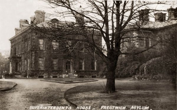View of the Superintendent's House at the Lancashire County Lunatic Asylum, at Bury New Road, Prestwich, near Manchester, designed by Isaac Holden and opened in 1851. It was also known as Prestwich Asylum, Lancashire County Mental Hospital
