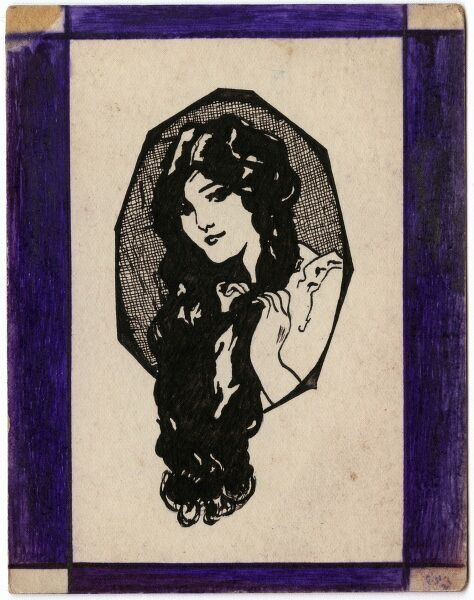 A pretty young woman with abundant long dark hair drawn by George Ranstead, an amateur artist of the Great War who served in the Army Pay Corps