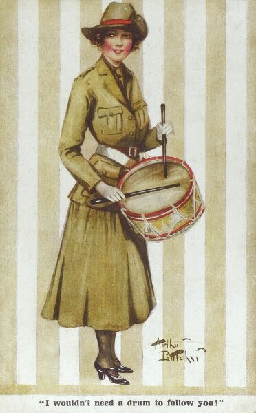 "A lady military drummer - the slightly saucy caption reads: ""I wouldn't need a drum to follow you"" ! A propaganda card from WWI. Date: circa 1916"