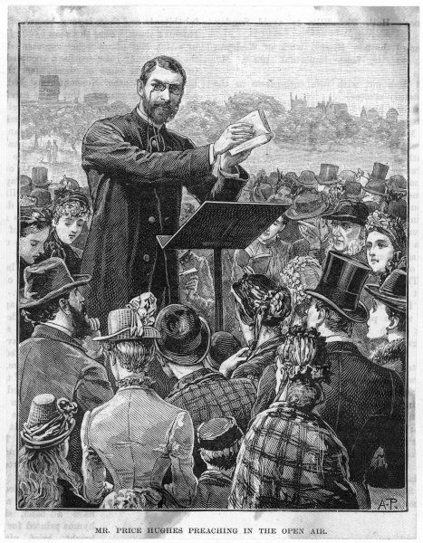 Hugh Price Hughes, the Methodist divine, preaches to a crowd in the open air