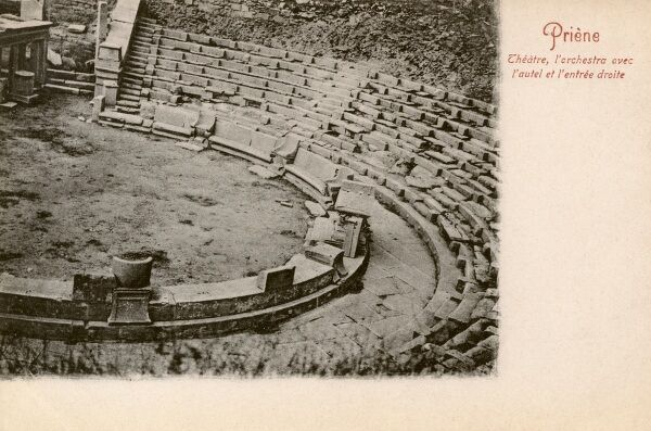 Priene - The Theatre. Priene was an ancient Greek city of Ionia at the base of an escarpment of Mycale, north of the Maeander (Buyuk Menderes) River. Date: circa 1906