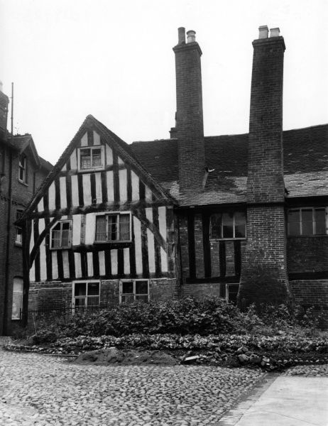 The fine old half-timbered building of the Priest-Vicars at Lichfield, Staffordshire, England. Date: mid 14th century