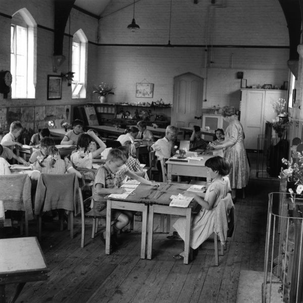 Pupils at Bramfield Primary School. Date: July 1957