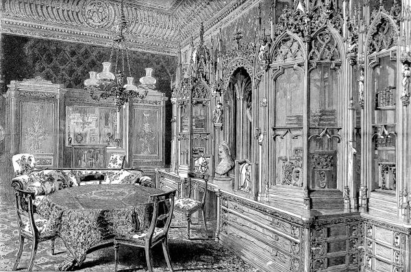 Engraving showing the interior of the music room of Prince Albert, Consort of Queen Victoria, at Buckingham Palace, 1887