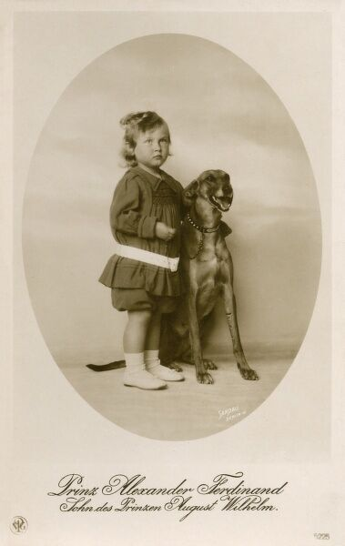 Prince Alexander Ferdinand of Prussia (1912 - 1985) with his pet dog. He was the son of August Wilhelm of Prussia (1997 - 1949)